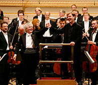 Composer Magnus Lindberg with Sir Simon Rattle and The Berliner Philharmoniker (c) 2007, Jennifer Taylor